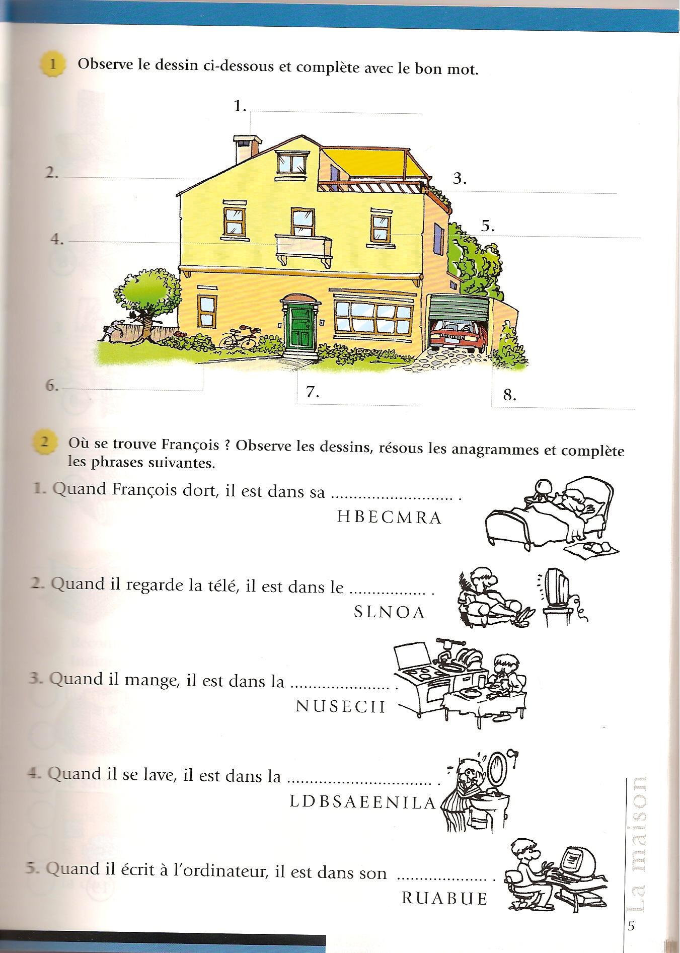 La maison mots crois s fle maison pinterest for Anglais vocabulaire maison